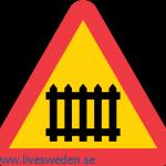 احذر تقاطع سكة حديدية مجهزه بحاجز