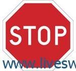 قف اجباري يجب توقف الاربع عجلات Märket anger att förare har stopplikt före infart på korsande väg, led eller spårområde