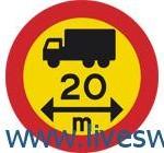 ممنوع مرور المركبات او مجموعات المركبات التي يزيد طولها على المسافة المبينة على الشاخصة